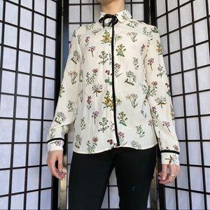 Flower Button Down Dress Shirt